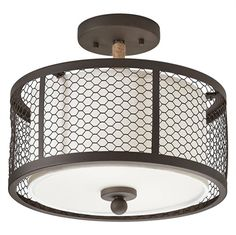 Kichler Lighting 2-Light Olde Bronze with Wrapped Rope Accent Mesh Semi-Flush Mount Light