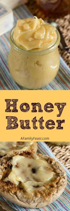 Honey Butter - Just two ingredients and you'll have this luscious, soft, whipped Honey Butter! Great on toasted bread! | A Family Feast