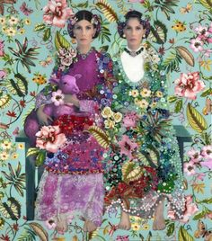 Flora y Fauna 2011 by Nina Surel   Mixed media: Buttons, Photography, Resin, Porcelain and Jewelry on Wood.