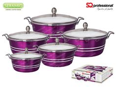 Ceramic coated casserole set (5pc) - AMETHYST - Diecast casseroles with ceramic coating and metallic finish in ruby red. Each comes with a tempered glass lid. PFOA free. Suitable for cooking on gas, electric, halogen and glass ceramic cookers. Capacity & sizes: ø20cm - 2300ml / ø24cm - 3800ml / ø28cm - 6000ml / ø30cm - 7000ml / ø32cm - 9500ml #metallic #diecast #aluminium #ceramic #coated #amethyst #purple #gems #sqprofessional
