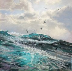 Купить Картина на холсте На гребне волны (синий, бирюзовый, голубой)