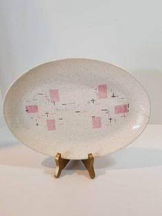 Vintage Tickled Pink Petite Platter, Atomic Serving Dish, Mid Century Meat Plate, Vernon Dishes, Retro Ceramic Oval Plate by SpencersStuff on Etsy https://www.etsy.com/listing/534919941/vintage-tickled-pink-petite-platter