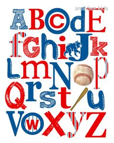 CHICAGO Cubs baseball ABC Nursery Art Print by AreaFareKids