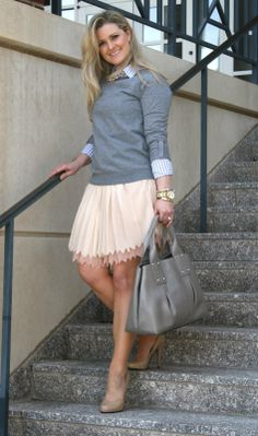 Peaches In A PodMy Colors are Blush and Bashful : blush tones, tulle skirt, nude pumps, gray sweater, Kate spade bag
