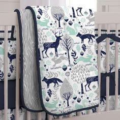 Navy and Mint Woodlands Crib Comforter made with care in the USA by Carousel Designs. Woodland Crib Bedding, Boy Nursery Bedding, Woodland Nursery Boy, Mint Nursery, Baby Bedroom, Bedroom Mint, Plaid Nursery, Baby Boy Bedding Sets, Deer Nursery