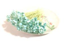 50 Mini Turquoise Gypso Gypsophila Mulberry Paper Flower Wedding Card Scrapbook #Handmade