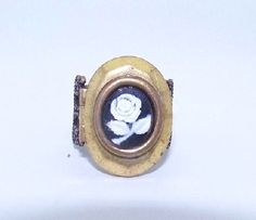 Lovely Feminine Steampunk RING with VINTAGE LOCKET and Cameo Frame