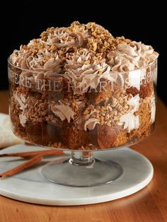 Pumpkin Toffee Crunch Trifle Recipe Pumpkin Toffee Crunch Trifle Ingredients 2 Loaves of Pumpkin Bread (store bought or prepared Quick Bread mix) 1 Cup Toffee bits 1 . Thanksgiving Desserts, Fall Desserts, Just Desserts, Delicious Desserts, Yummy Food, Potluck Desserts, Trifle Desserts, Pudding Desserts, Dessert Recipes