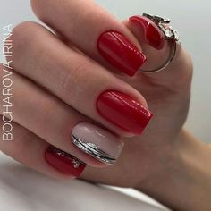 red nails short & red nails & red nails acrylic & red nails design & red nails glitter & red nails coffin & red nails short & red nails acrylic coffin & red nails with rhinestones Short Red Nails, Short Nails Art, Red Nail Designs, Short Nail Designs, Red Nail Art, City Nails, Rhinestone Nails, Nagel Gel, Nail Decorations