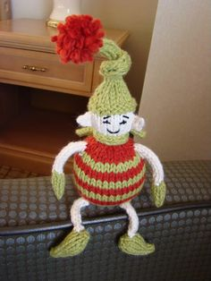 Knit this cute little holiday elf for Christmas. Get the free pattern from Spud and Chloe here: link