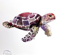"ORIGINAL Sea Turtle watercolor painting 9""x12"" by Suren Nersisyan. $27.00 . Artist never sells prints or copies of his work. The artwork is truly OOAK!"