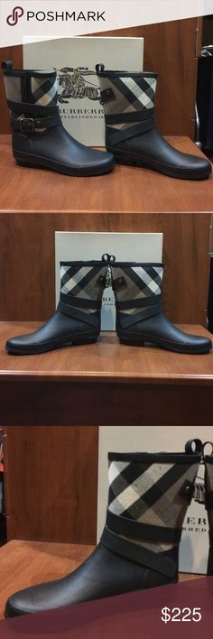 """New Burberry Rain Boots Holloway Mid Buckle Check New in Box. Never worn. Burberry Rain Boots. UK size 7. EUR 40. Add a natty touch to your collection of rain boots with this mad-for-plaid Burberry pair. They're a short take on rainy day style, perfect in warm or cool weather. Rubber upper, fabric lining, rubber sole Imported Pull on with back tab; wrap around buckle detail 6.5"""" shaft Burberry Shoes Winter & Rain Boots"""