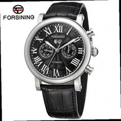 53.91$  Buy now - http://ali6rs.worldwells.pw/go.php?t=32635449428 - Forsining Relogios Masculino Men's Day Roman Number Auto Mechanical Watches Wristwatch Black Genuine Leather Gift Box Free Ship