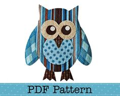 Free Printable Owl Pattern | Valentine Owl Applique Template, Bird, Animal, DIY, PDF Pattern - by ...