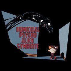 A Calvin & Hobbes/Spider-Man & Venom mashup