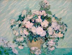 Roses by Vincent van Gogh. Vincent van Gogh painted Roses as part of his healing process while at the asylum at Saint–Rémy. Roses is recognized as one of Van Gogh's most beautiful still lifes. Art Van, National Gallery Of Art, Art Gallery, Art Floral, Floral Style, Flores Van Gogh, Van Gogh Still Life, Van Gogh Arte, Van Gogh Pinturas