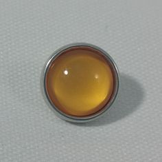 1 PC - 12MM Light Orange Glass Dome Silver Charm for Candy Snap Jewelry Limited Edition CC0013
