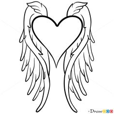 Angel Wings Drawing, Step by Step Drawing Lessons Angel Wings Drawing, Step by Step Drawing Lessons Landscape Pencil Drawings, Art Drawings Sketches, Easy Drawings, Tattoo Drawings, Angel Wings Drawing, Angel Wings Art, Angel Wings Painting, Doodles Kawaii, Herz Tattoo