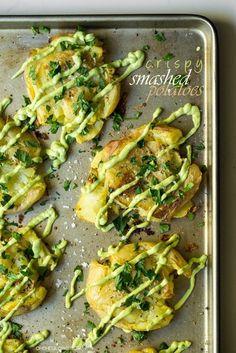 Crispy Smashed Potatoes with Avocado Garlic Aioli (via http://Bloglovin.com )