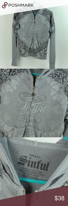 SINFUL gray black paisley design distressed hoody SINFUL brand long sleeve paisley design with logo hoody. Gray with black and white screen print designs. Zipper front. VERY soft distressed gray 100% cotton size small. Chest across approx 17.5. Lot of raw edging and distressed panels, very nice. Great condition showing no wear. Sinful Jackets & Coats