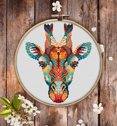 Mandala Giraffe Cross Stitch Pattern for Instant Download
