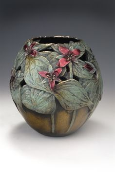 Carol Alleman - Trillium Cast Bronze Edition of 111 Available at Mark Sublette Medicine Man Gallery Abstract Sculpture, Bronze Sculpture, Glass Ceramic, Ceramic Art, Pottery Vase, Ceramic Pottery, Vases, Painted Gourds, Gourd Art