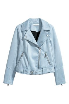 Check this out! Biker jacket in faux suede. Notched lapels with decorative snap fasteners, diagonal zip at front, and side pockets with zip. Long sleeves with zip at cuffs. Attached, adjustable belt at hem with a metal fastener. Lined. - Visit hm.com to see more.