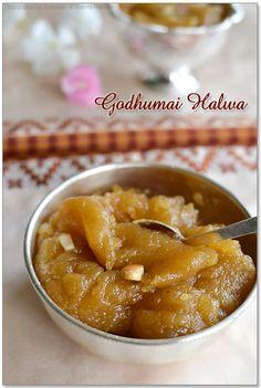 Godhumai halwa - Indian pudding-like dessert Indian Dessert Recipes, Indian Sweets, Sweets Recipes, Snack Recipes, Cooking Recipes, Wheat Halwa Recipe, Indian Pudding, India Food, Savory Snacks
