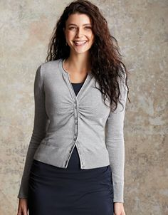 ec2a7ce8e4 Notch Neck Cardigan in Light Grey Marl by Bravissimo Clothing