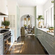 white kitchen, wood floors, and the lemon tree!