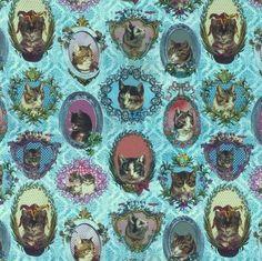 retro katten - zwaar katoen - @bambiblauw