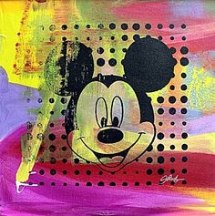 """Original Mixed Media on Canvas """"Mickey Mouse"""" By Gail"""