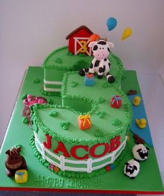 Farm Themed Birthday Cake Ideas - Share this image!Save these farm themed birthday cake ideas for later by share this imag Farm Birthday Cakes, Farm Animal Birthday, Birthday Cake Girls, 3rd Birthday, Number 1 Birthday Cake Boy, Birthday Ideas, Barnyard Cake, Farm Cake, Barnyard Party