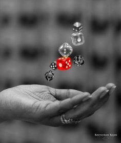 The single red dice is the focal point in this black and white image. The single red dice is the foc Black And White Colour, Black And White Pictures, Red Color, Color Pop, Splash Photography, Color Photography, Black And White Photography, Focal Point Photography, Contrast Photography