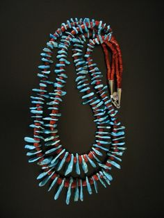 Sleeping Beauty Turquoise and Coral Tab Double Strand Necklace