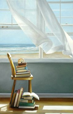 Reading book by the beach painting: http://beachblissliving.com/i-wish-i-were-there-rooms-with-ocean-beach-windows-paintings-by-karen-hollingsworth/