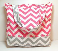 Canvas Tote Bag  Pink Gray  Chevron  Large Tote Bag  by jayciMay, $45.00 #Summertote #Beachbag #giftideas #chevronbag #chevrontote #pink #etsy #shopetsy #handmade