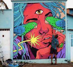 Wes Gama in Minas Gerais, Brazil, 2018 Graffiti Murals, Murals Street Art, Street Art Graffiti, Mural Wall Art, Mural Painting, Mural Floral, Grunge Art, Street Artists, Public Art
