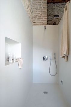 Love this for my bathroom Creative Storage Idea For A Small Bathroom Organization White bathroom fantastic bathroom interior plans shelves Bathroom Toilets, Laundry In Bathroom, White Bathroom, Modern Bathroom, Small Bathroom, White Shower, Brick Bathroom, Big Shower, Dream Shower