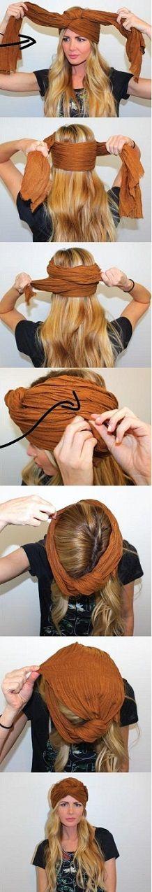 Idées, conseils de coiffure pour savoir comment nouer un foulard en turban sur la tête autour des cheveux. Se coiffer avec un turban cheveux courts, longs.