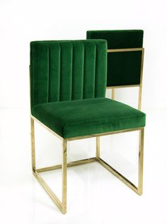 Sleek and stylish, these beautiful dining chairs will add some class to your dining room. Now offered in a lush emerald velvet, skillfully tufted to add simple