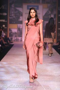 Buy Light Coral Color Saree Gown by Akanksha Singh at Fresh Look Fashion Indian Dresses, Indian Outfits, Look Fashion, Indian Fashion, Fashion Design, Saree Gown, Lehenga, Satin Saree, Sari Design