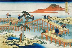 Katsushika Hokusai - Eight part bridge, province of Mucawa, Japan, c.1830 (wood block print)