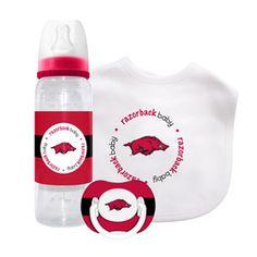 NCAA Arkansas Razorbacks 3 piece Baby Gift Set - http://www.gifts-for-baby.net/ncaa-arkansas-razorbacks-3-piece-baby-gift-set/