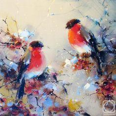 Картинки по запросу новый год  живопись снегири