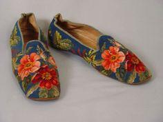 Gentlemen can enjoy florals, too! Men's slippers, 1855