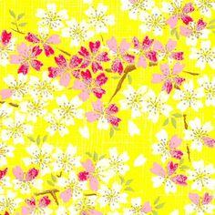 Papier Japonais / Sérigraphie fleurs de cerisier roses et blanches, or sur fond jaune - Adeline Klam