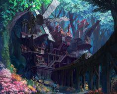 Village in the Forest , dea bum Kim on ArtStation at https://www.artstation.com/artwork/w7
