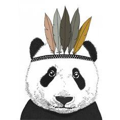 Poster Panda met indianentooi - Minimel *verschillende afmetingen