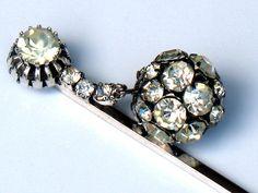 Vintage 1940s Crystal Rhinestone Silver Tone Hair Stick Pin Bridal Wedding by JewelryQuestDesign.